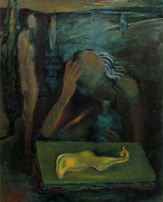 Seated Figure Contemplating a 'Great Tapeworm Masturbator' (1981) by Salvador Dalí