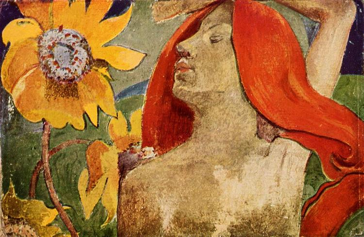 Redheaded woman and sunflowers (1890) by Paul Gauguin