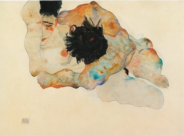 Study of a couple (1912) by Egon Schiele